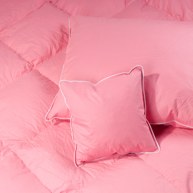 """pink pillows and quilt"" stock image"