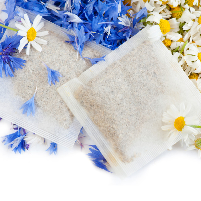"""chamomile with cornflower herbal tea sachets"" stock image"
