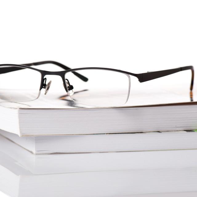"""black corrective eyeglasses with plastic frame"" stock image"