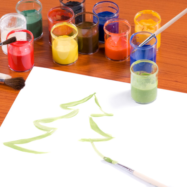 """Paints and brushes on table"" stock image"