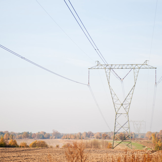 """Electric power transmission or power grid pylon"" stock image"