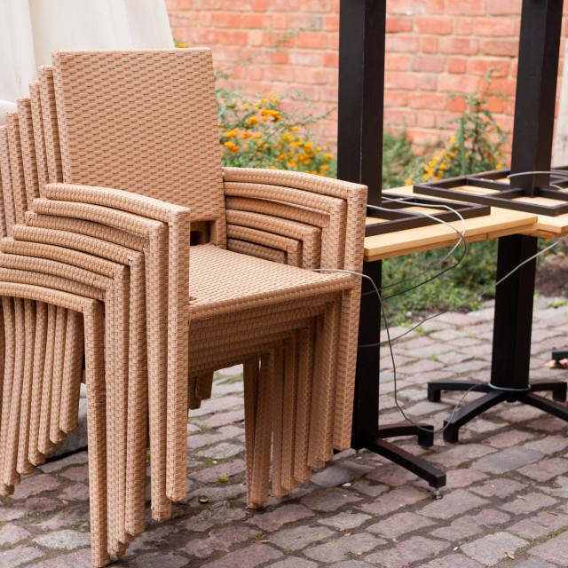 """plastic chairs set"" stock image"