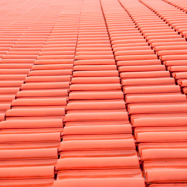 """rows of red tiles roof abstract texture"" stock image"