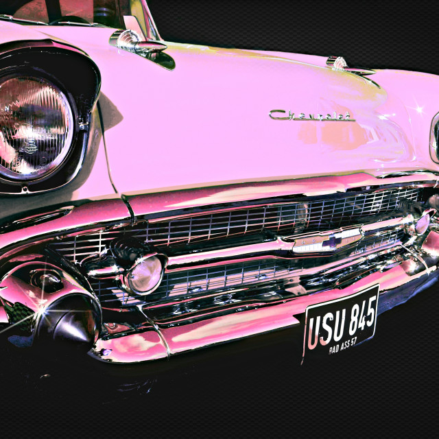 """""""Candy Pink Chevrolet"""" stock image"""
