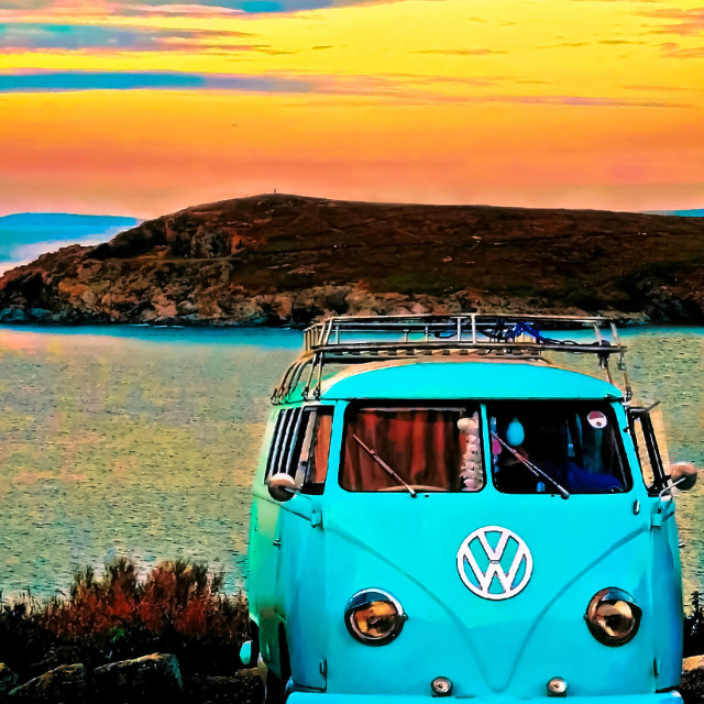 """Iconic VW & Sunset."" stock image"