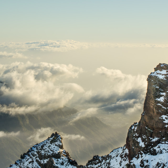 """The mountains of the Roque de los Muchachos"" stock image"