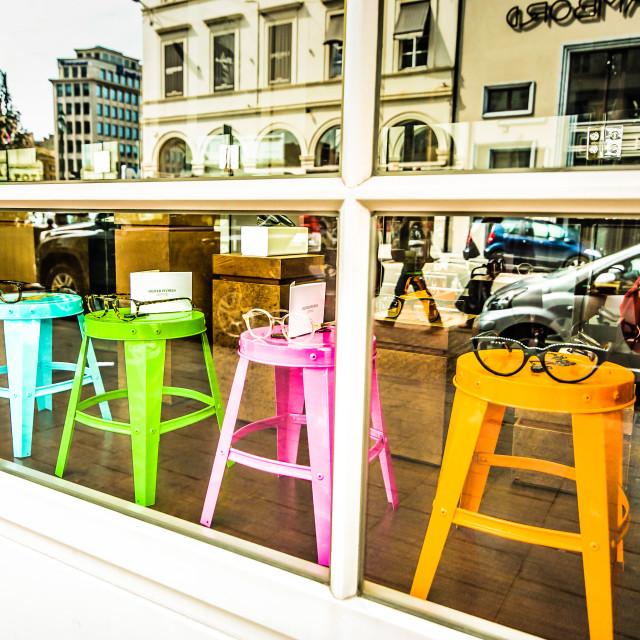 """Bright Coloured Optical Shop"" stock image"