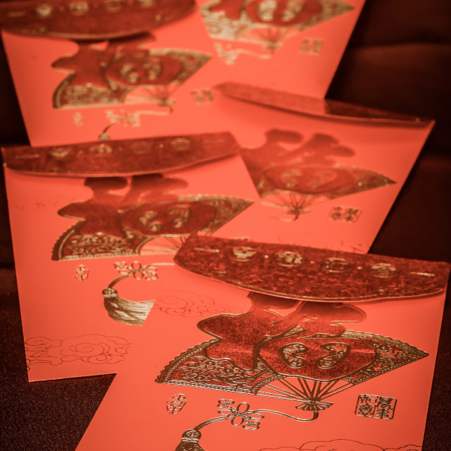 """Chinese Red Money Envelopes"" stock image"