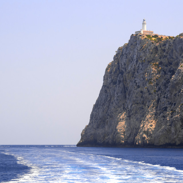 """Formentor lighthouse and seafoam"" stock image"