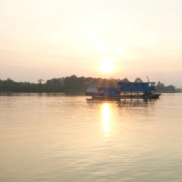 """Mahakam River Sunset"" stock image"