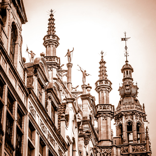 """Fantasy Tops of Grand Place Buildings-Cropped-Sepia"" stock image"