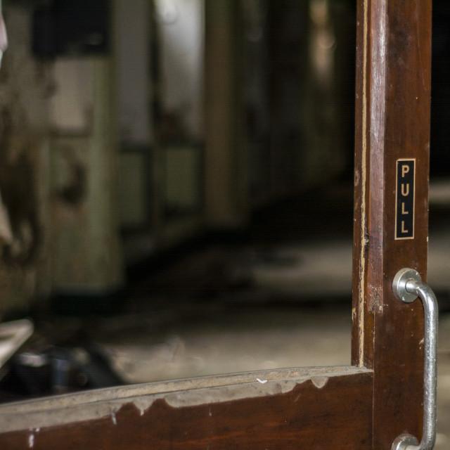 """""""Old doorway in derelict building"""" stock image"""