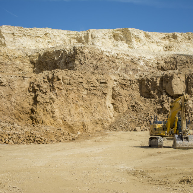 """Excavator at Quarry site"" stock image"