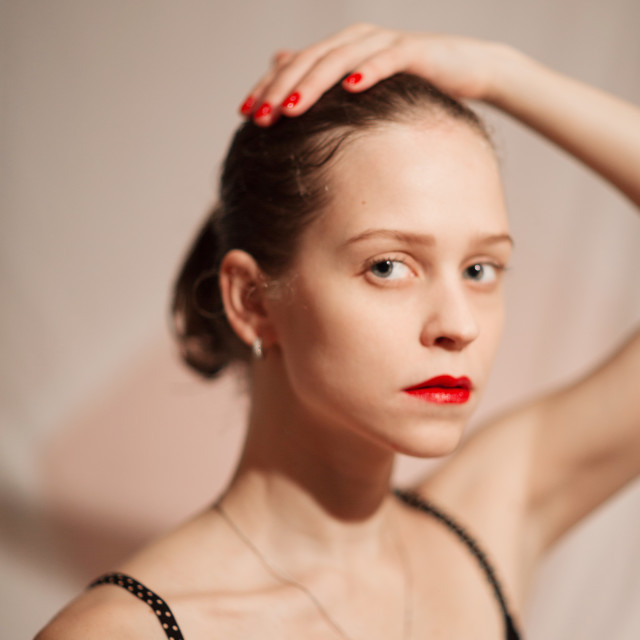 """Girl with red lips"" stock image"