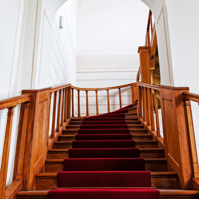 """""""Stairs with red carpet"""" stock image"""