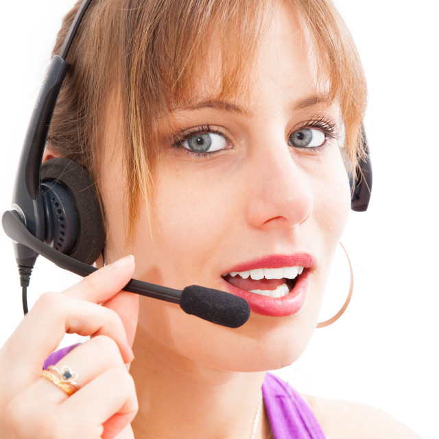 """Call center operator businesswoman on white background"" stock image"