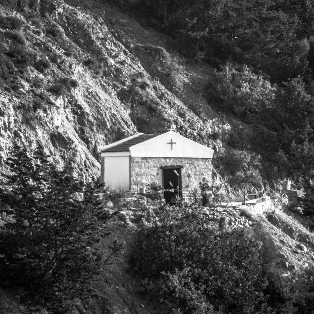 """Mountain village church, Cyprus"" stock image"