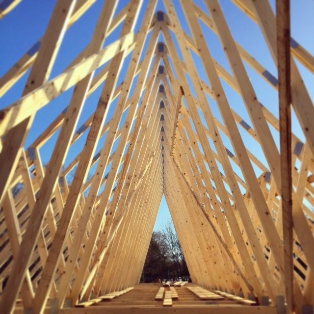 """""""Timber roof truss construction on building site"""" stock image"""