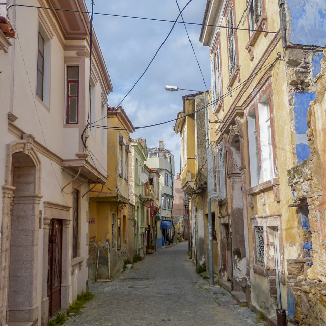 """Street scene in Ayvalik, Turkey"" stock image"