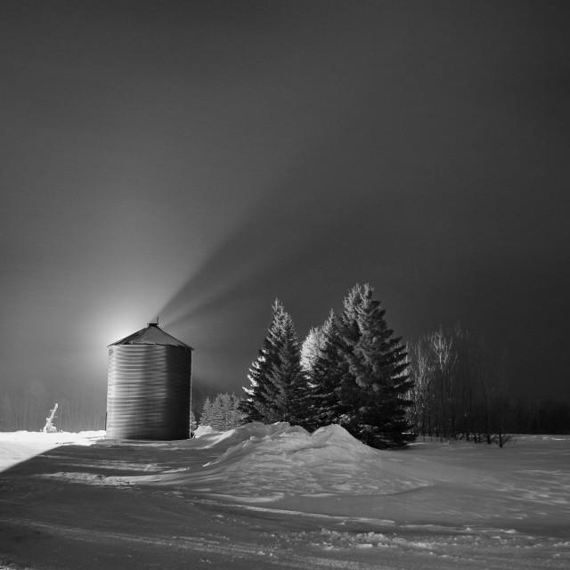"""Backlit grain bin"" stock image"