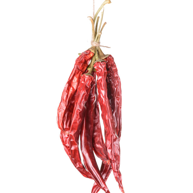 """Hanged Sear Chili Peppers"" stock image"