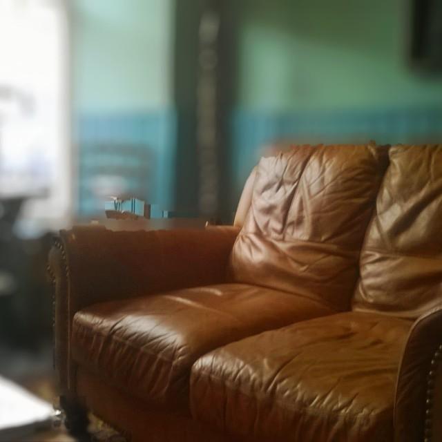 """Brown leather sofa"" stock image"