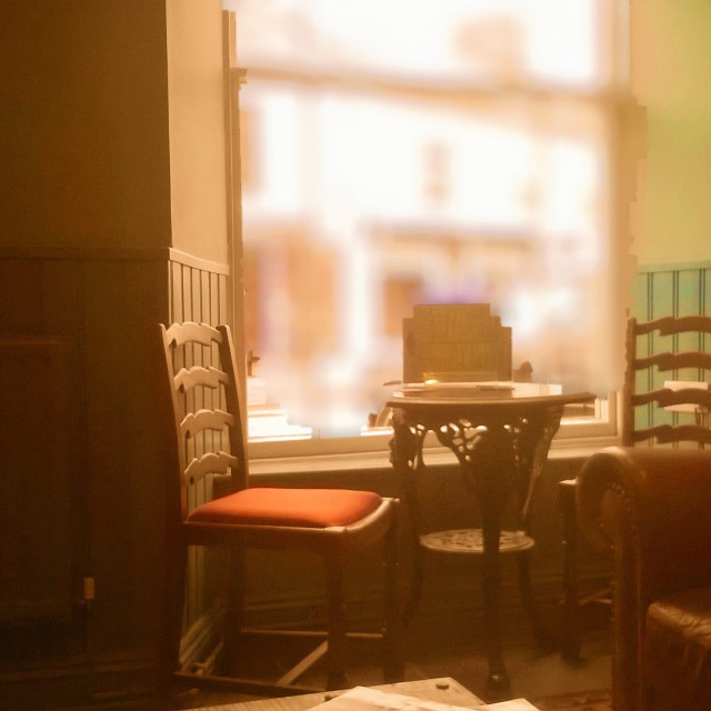"""""""Victorian pub window and table"""" stock image"""
