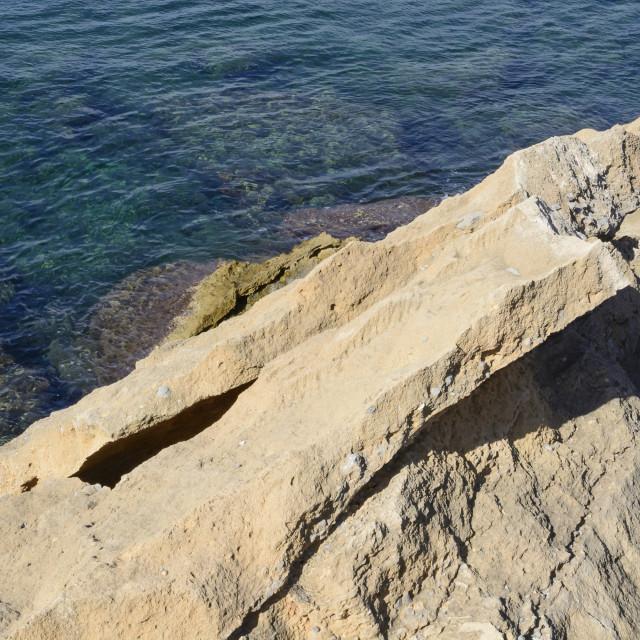"""""""Blocks of layered limestone rock"""" stock image"""