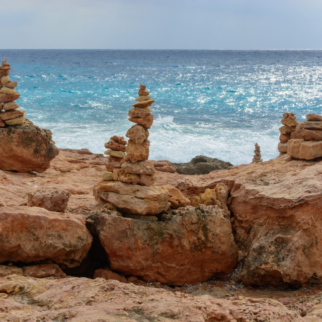 """Rock towers by the sea"" stock image"