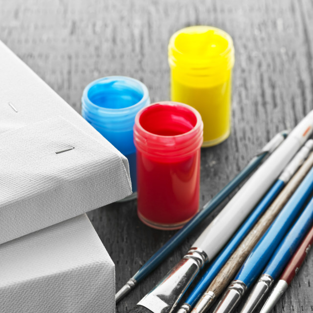 """""""Paintbrushes with canvas"""" stock image"""