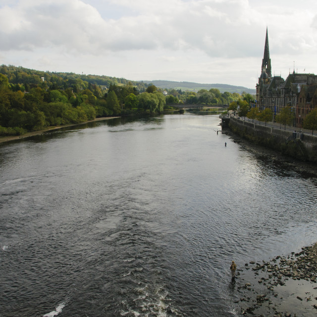 """Fly fishing on the River Tay"" stock image"