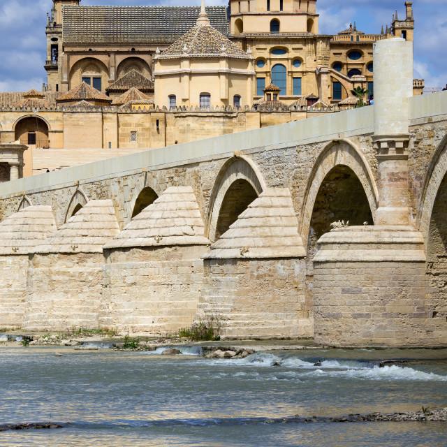 """Mezquita and Roman Bridge in Cordoba"" stock image"