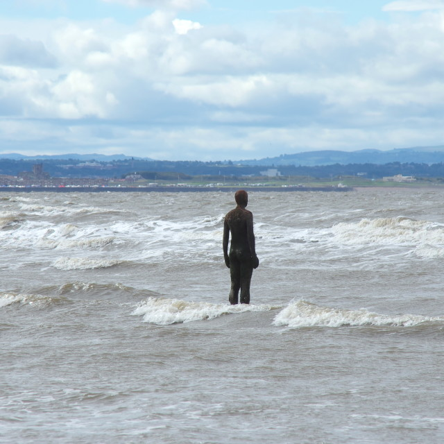 """""""Looking out from Crosby beach"""" stock image"""