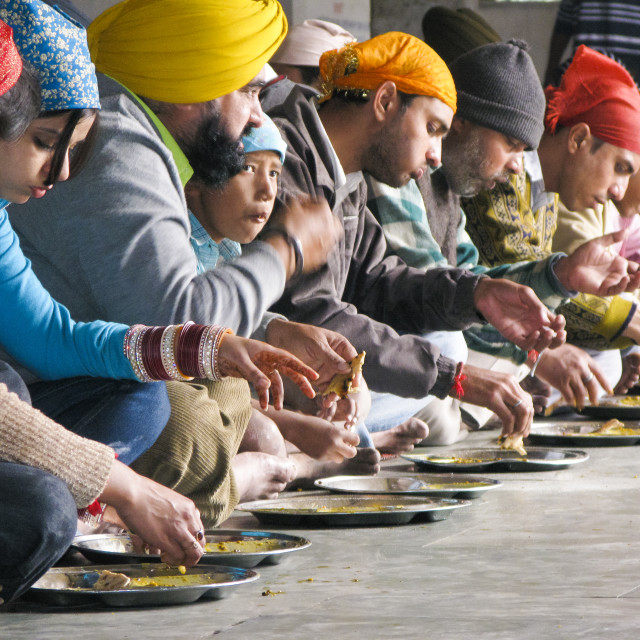 """Eating at the golden temple"" stock image"
