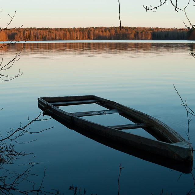 """A flooded boat (landscape 2)"" stock image"