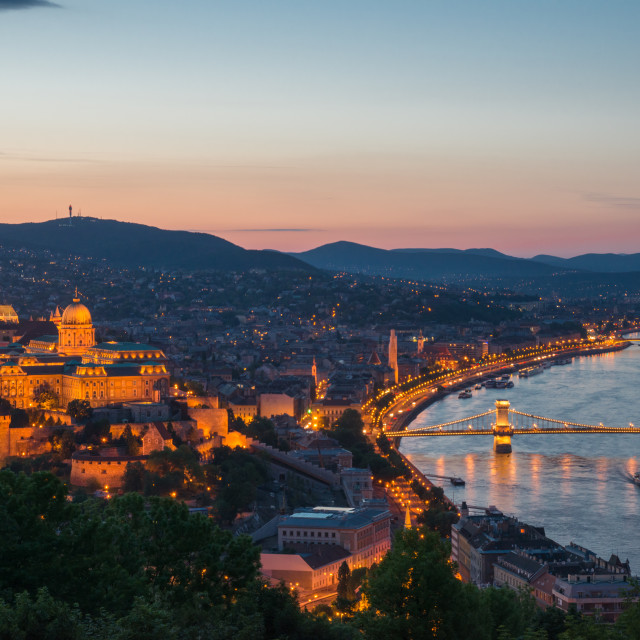 """""""Buda King's castle night view from the hill"""" stock image"""