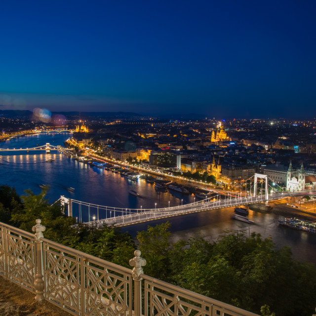 """""""Budapest bridges night view from the hill"""" stock image"""