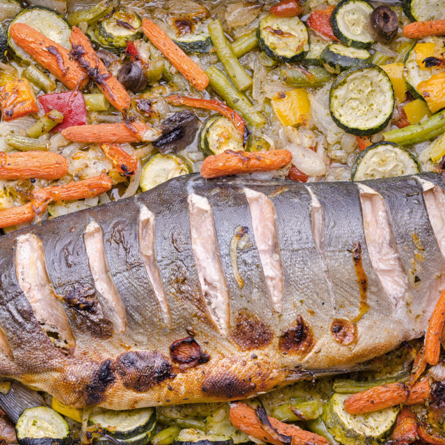 """Healthy Dinner With Fish And Vegetables"" stock image"