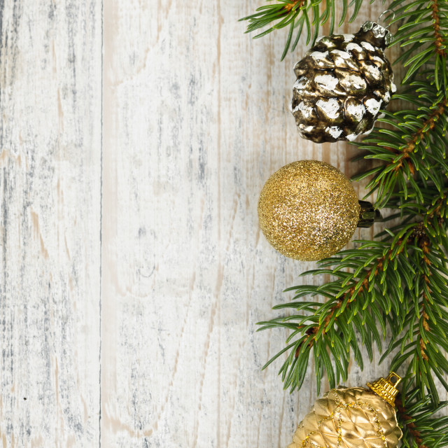 """""""Christmas background with ornaments on branch"""" stock image"""