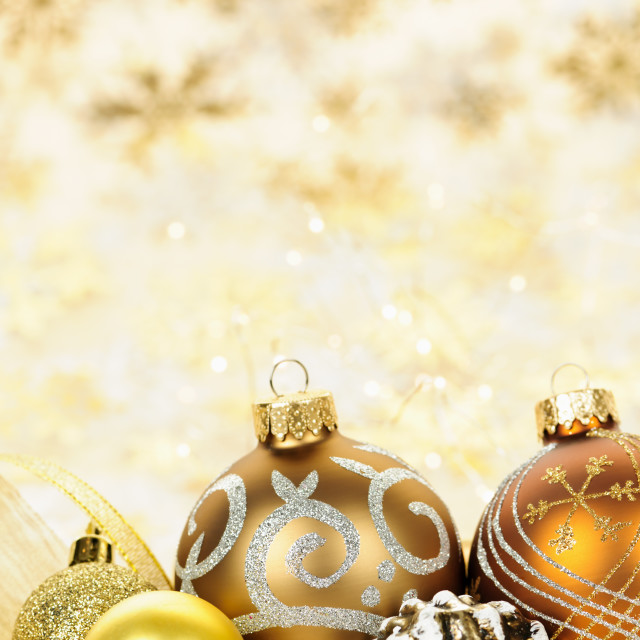 """""""Golden Christmas ornaments background"""" stock image"""