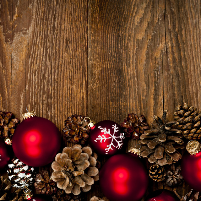 """""""Wood background with Christmas ornaments"""" stock image"""