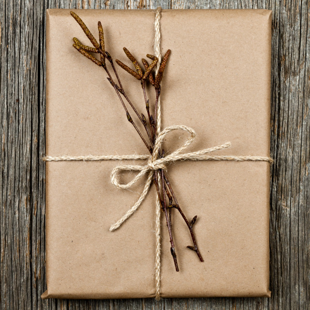 """""""Plain gift with natural decorations"""" stock image"""