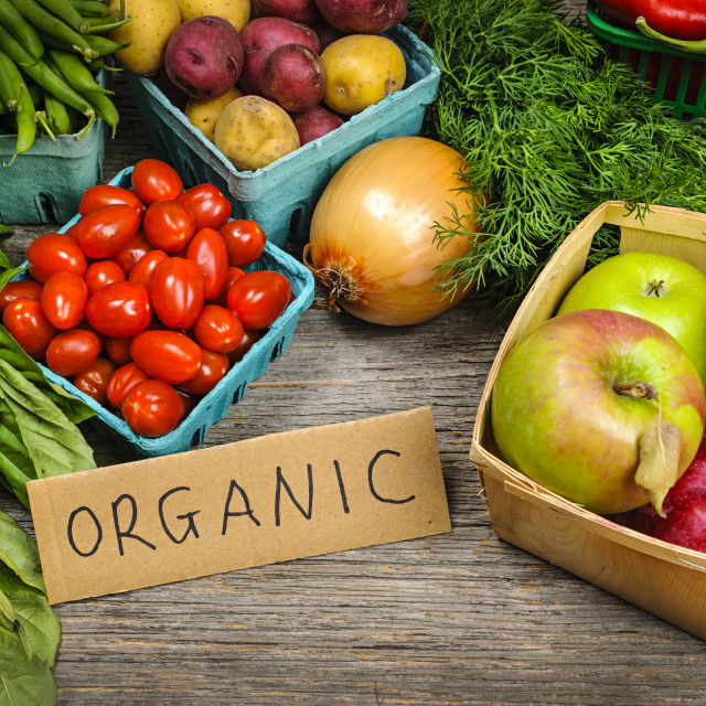 """""""Organic market fruits and vegetables"""" stock image"""