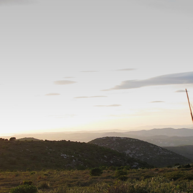 """Panorama mountain and sea"" stock image"
