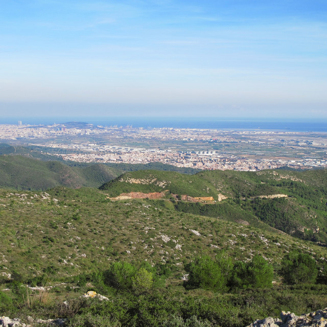 """Panorama mountain, sea, and Barcelona"" stock image"
