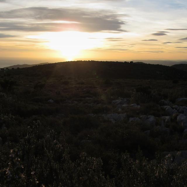 """Panorama mountain, sea, and sunset"" stock image"
