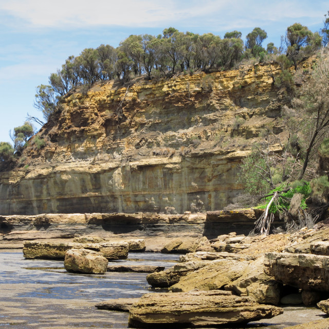 """""""cliffs, sea, ocean, and weathered sandstone"""" stock image"""