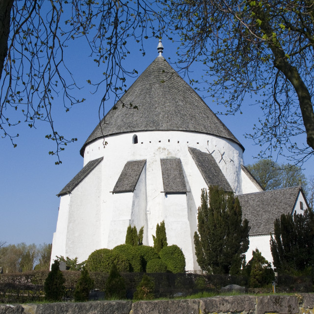 """round church bornholm"" stock image"