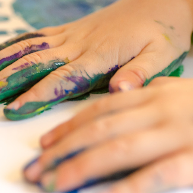 """""""Child painting with hands"""" stock image"""