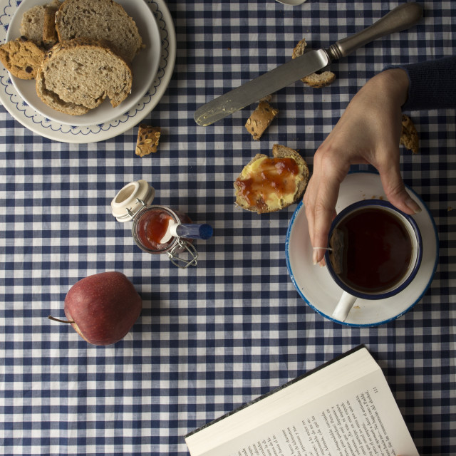 """woman having breakfast, his hands and a book"" stock image"